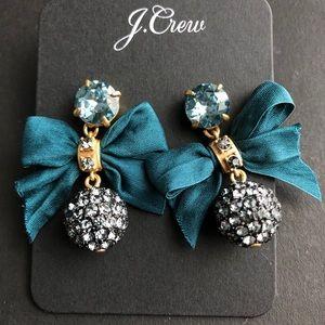 NWT J. Crew Festive pavé drop bow earrings